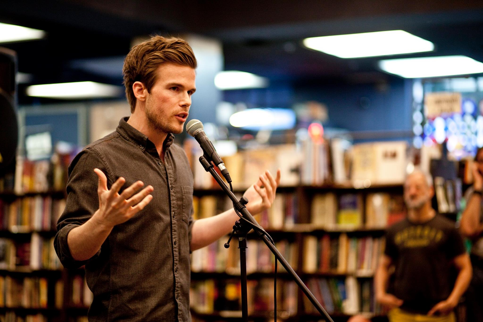 Colin Wright speaking at The Last Bookstore in Los Angeles photo by Light Affect